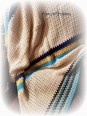 Crochet Afghan Cream Blue Yellow