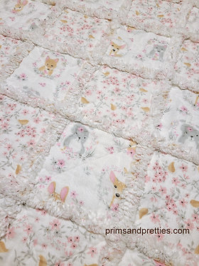 Baby Rag Quilt Pink Gray Woodland Animals