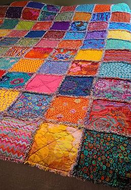 Bohemian Rag Quilt, Colorful Rag Quilt