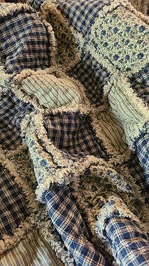 Full/Twin Primitive Blue Rag Quilt