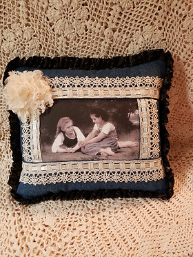 Best Friends Pillow with Denim & Trim