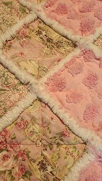 Baby Rag Quilt, Pink  Roses Rag Quilt, Rag Quilt, Chenille & Flannel Rag Quilt