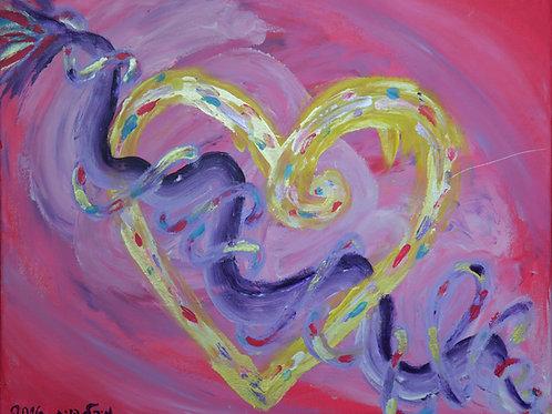 לב עם נחש DNA | מקור על קנבס