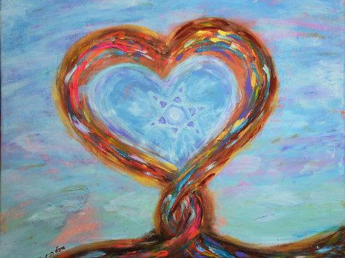 עץ הלב עם מגן דוד | אקריל על קנבס