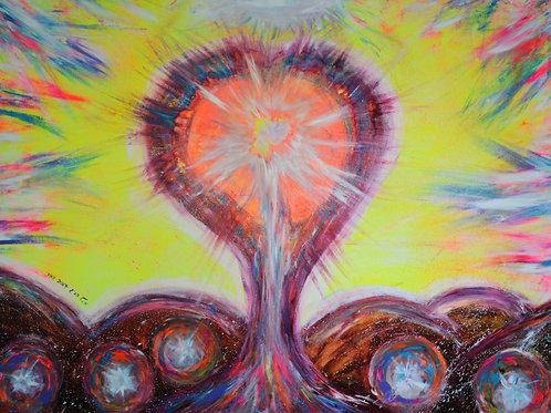 עץ השפע הכתום | אקריל על קנבס