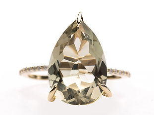 PEAR CUT GREEN AMETHST DIAMOND PAVE RING