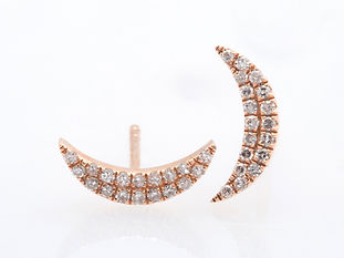 ROSE GOLD CRESENT DIAMOND PAVE EARRINGS