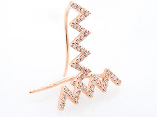 ROSE GOLD TINY ZIG ZAG HOOK EARRINGS