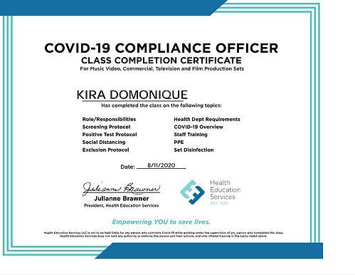 CoVid Compliance Officer KIRA DOMONIQUE