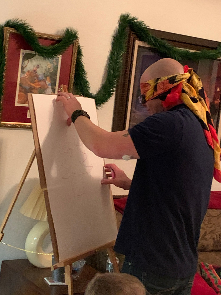 Michael A. blindfolded at OCC Christmas