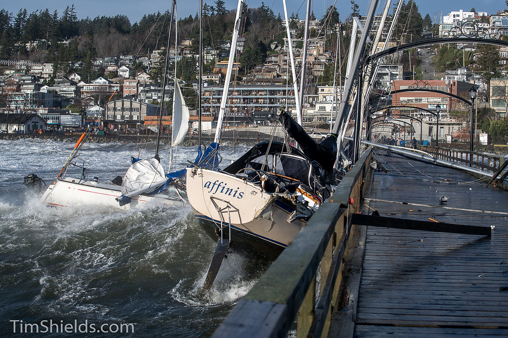 Boats hitting pier