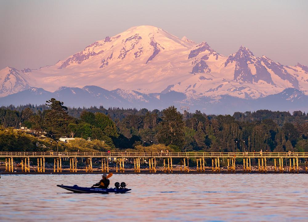 Mount Baker, White Rock Beach, Sunset, Kayak