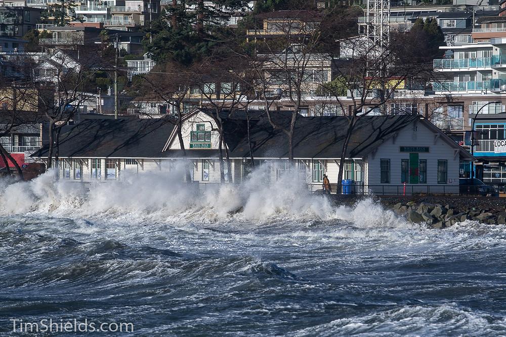 White Rock museum behind a crashing wave
