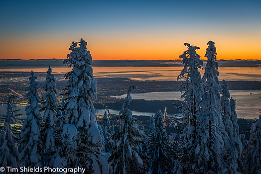 Vancouver from Grouse Mountain in winter