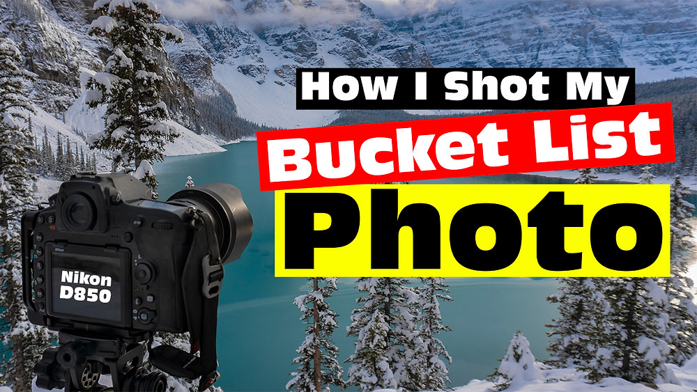 Banff Bucket Shot Photo at Moraine Lake