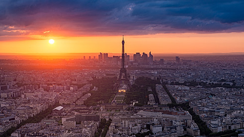 Paris under a sunset