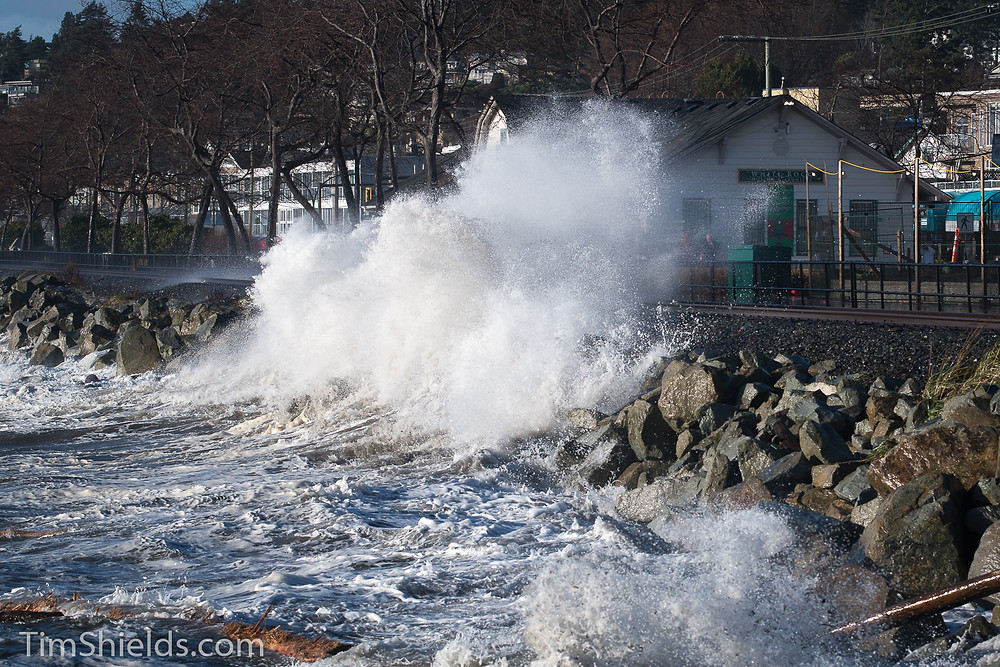 White Rock museum with crashing wave