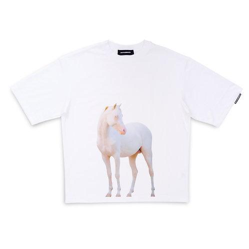 HORSE TEE — WHITE