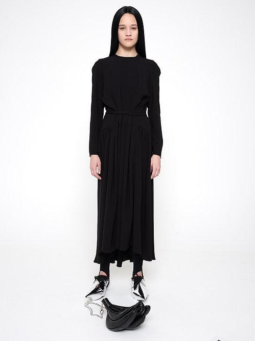 BLACK LONG SLEEVE APRON DRESS