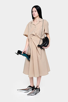 BEIGE SHORT SLEEVE SHIRT —  MID LENGHT SKIRT SET
