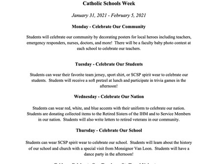 Catholic Schools Week Schedule of Events:  January 31-February 5, 2021