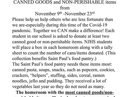 """SCSP National Junior Honor Society's """"We 'Can' Make a Difference!"""" Canned Food Drive"""