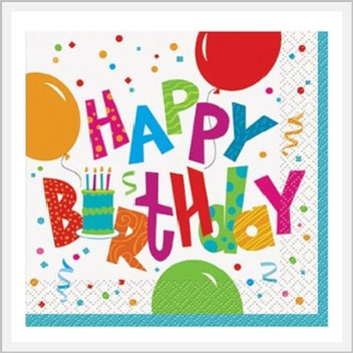 Birthday Paper Napkins With Design (8 count)