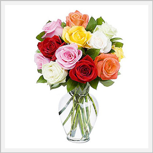 One Dozen Assorted Color Roses