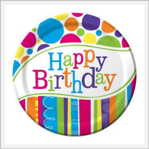 Birthday Cake Paper Plates (8 count)