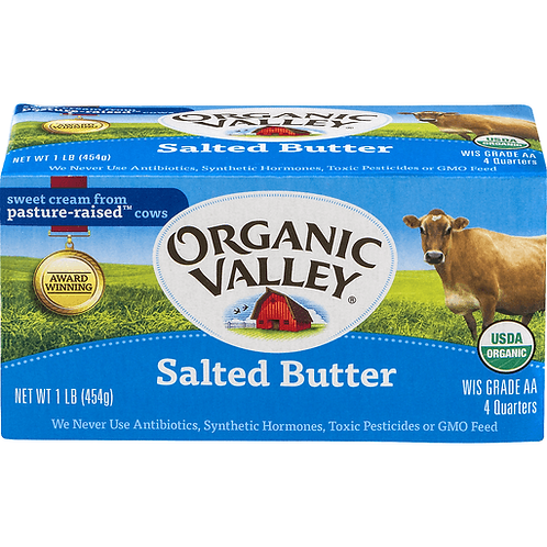 Organic Valley Butter Salted or Unsalted  4pk (454g)
