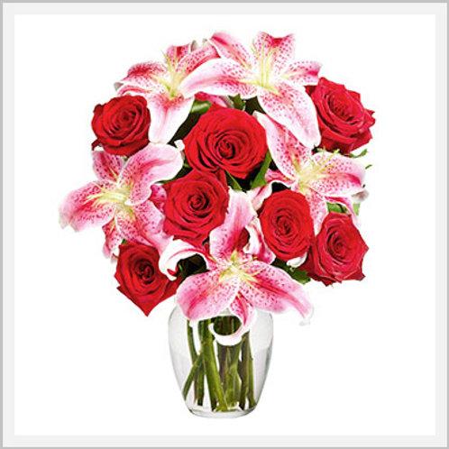 Stargazers 6-9 Stems & 1 Dozen Red Roses