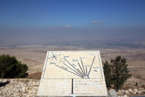 A chart of cities in Israel on the top of Mount Nebo. (Photo: Matanya Tausig/Flash90)