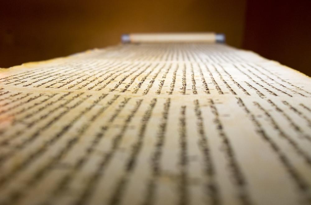 QUMRAN, ISRAEL - JANUARY 06, 2017: Dead Sea Scrolls on display at the caves of Qumran.