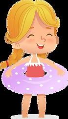 Peach girl with purple polka dot innertu