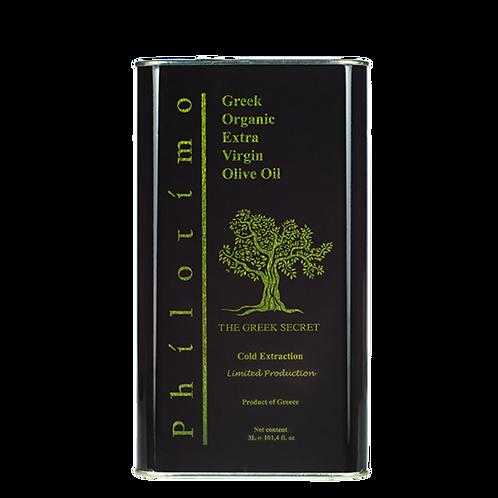 Philotimo Extra Virgin Organic Olive Oil 3L TIN