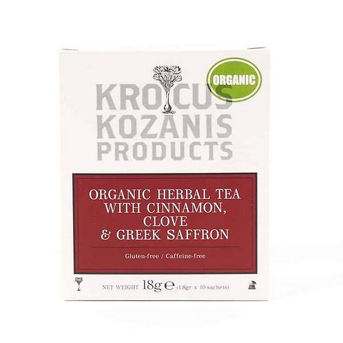 Organic Herbal Tea with Cinnamon, Clove & Greek Saffron 18gr