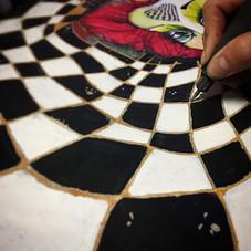 Engraving #queenofhearts #engraving #woodwork #wood #painting #checkers #blacknwhite #nofilter #artperth #art #sorehands #customchair #homed