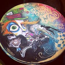 Have I Gone mad stool #customstool #painting #art #artperth #perthart #customchair #madhatter _beaufortstreetartisanmarket #haveigonemad #im