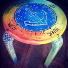 Kids stool #customfurniture #art #painting #engraver #sailor #kid #anchor #wood