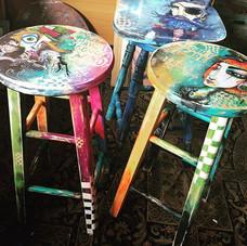 New stools available _beaufortstreetartisanmarket #customchair #perthart #artperth #art #tankateo #engraving #acrylic
