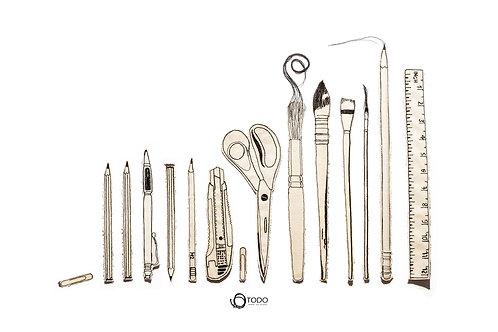 פוסטר מקורי - כלי כתיבה בשורה