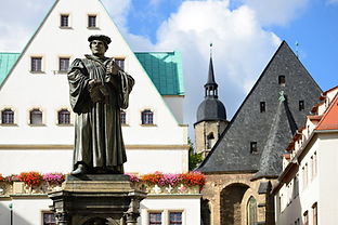 Monument of Martin Luther on the Town Square of Eisleben, Germany, the town of his birth a
