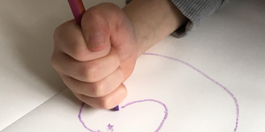 drawing with crayons early grasp