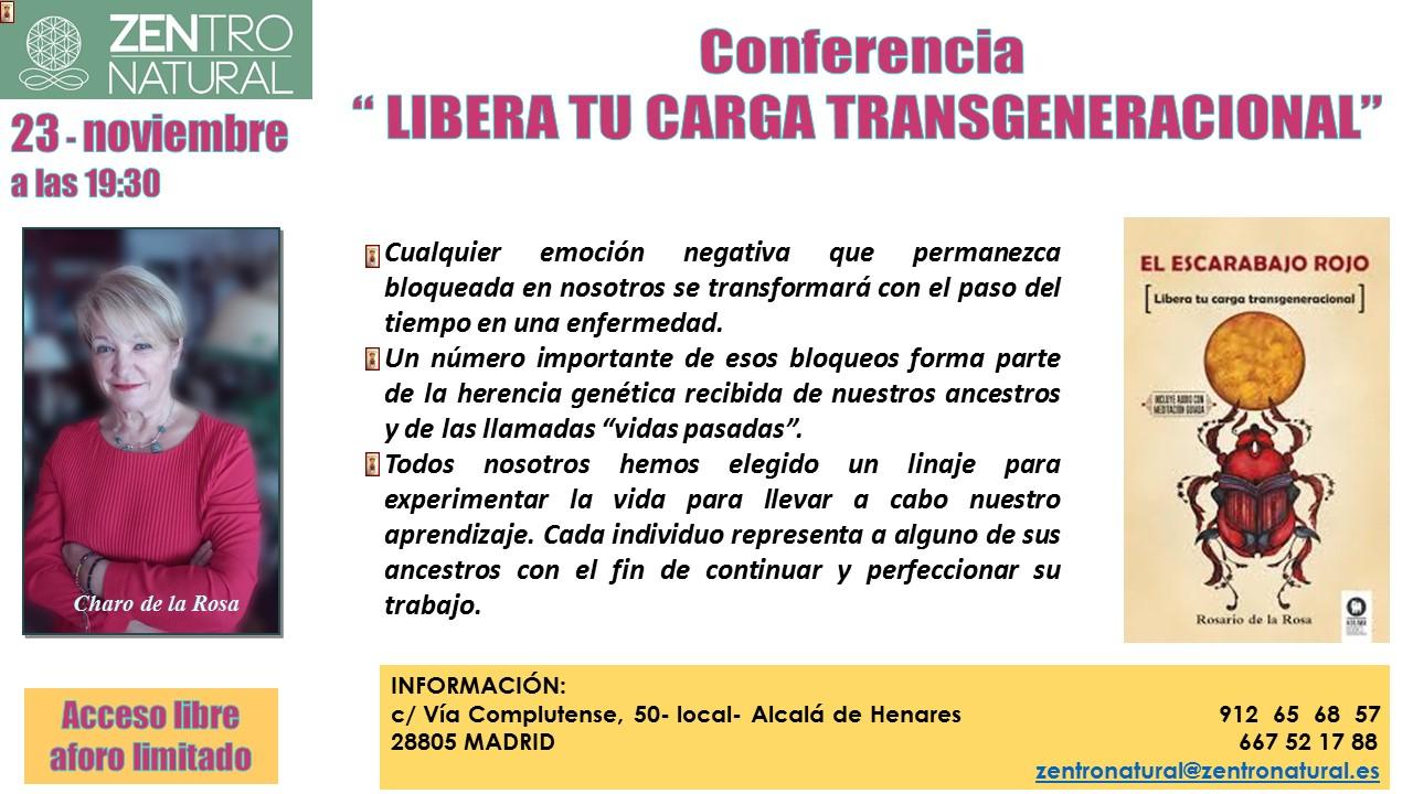 cartel conferencia libera tu carga transgeneracional