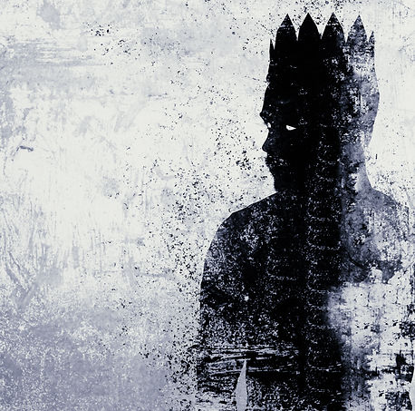 Abstract dark king sketch on textured co