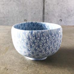 透光磁練上茶道茶碗-麻の葉-