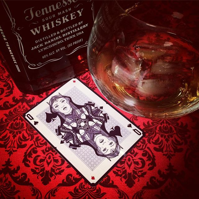aturday night with the #queenofspades , a glass of #jackdaniels and a lot of awesome kickstarter bac