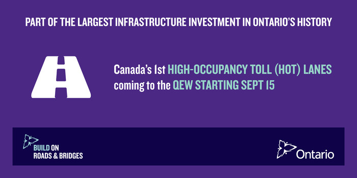 Canada's First High-Occupancy Toll Lanes To Open September 2016