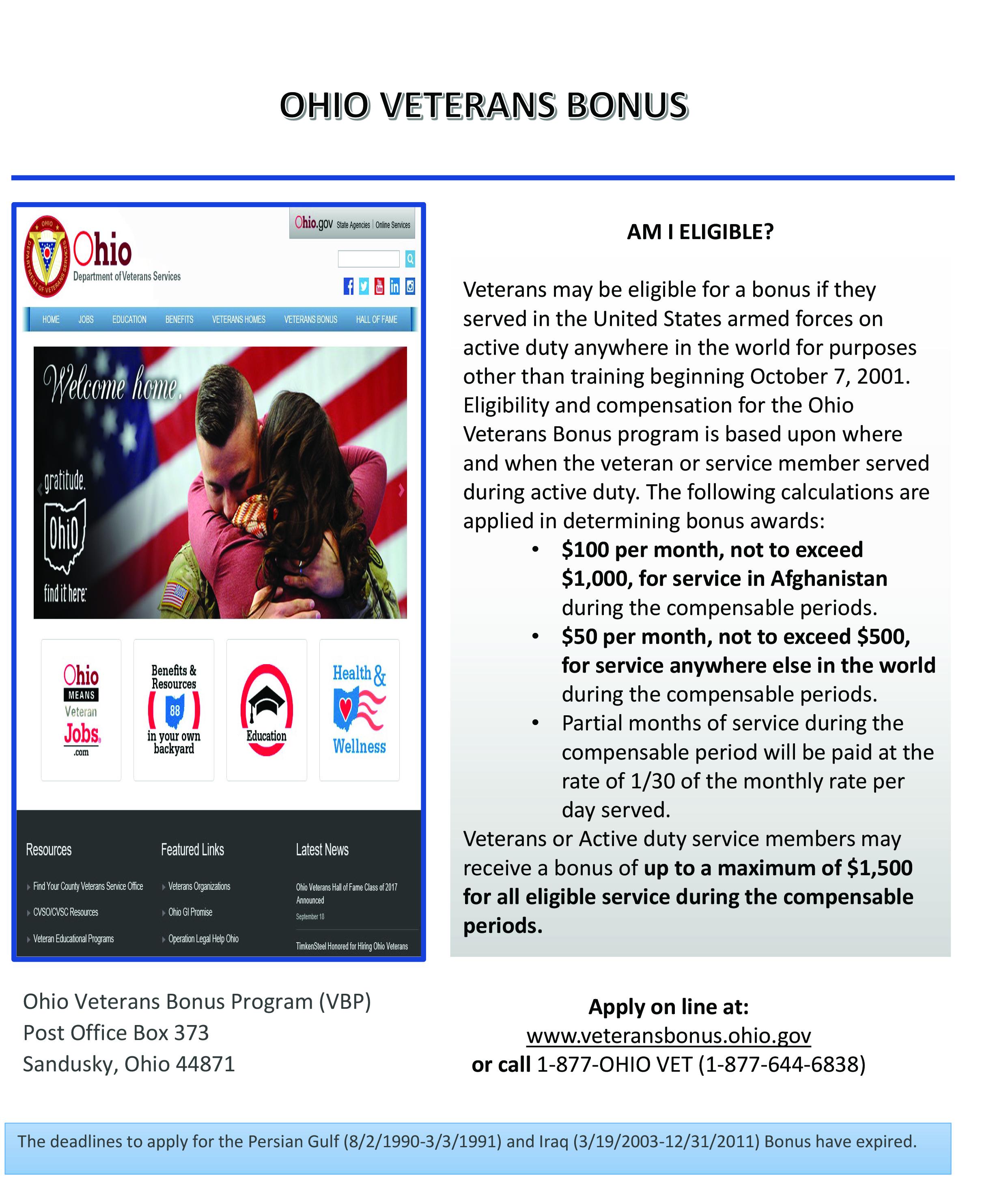 Ohio Veterans Bonus
