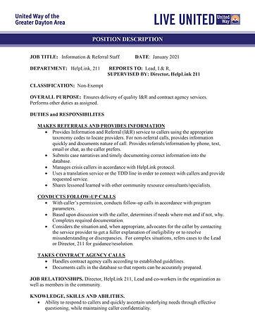 Information & Referral Staff Job Descrip